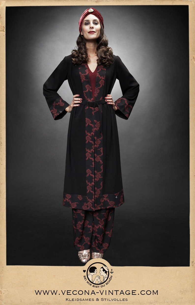 1930s Style Coats, Jackets | Art Deco Outerwear 30s 20s black CREPE COAT belt clouds japan print bordeaux red 1930 1920 $284.49 AT vintagedancer.com