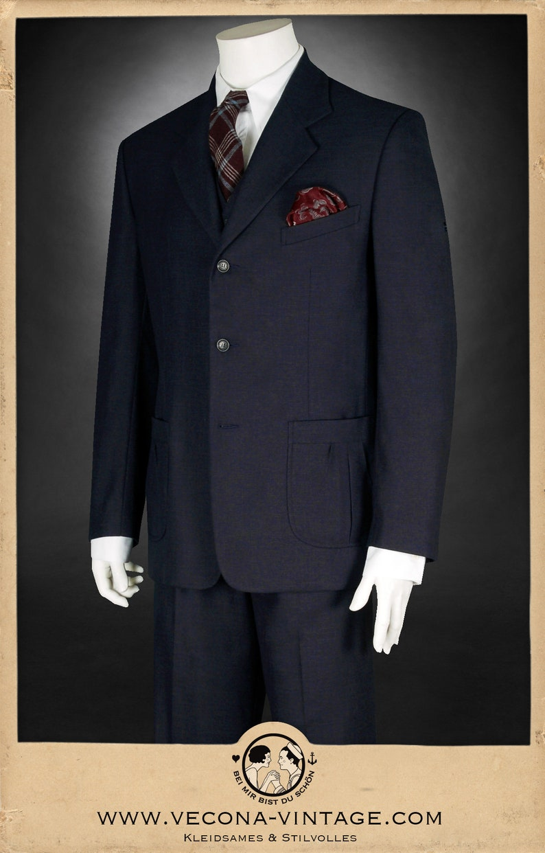 1940s Zoot Suit History & Buy Modern Zoot Suits 30s 40s JACKET navy blue cotton linen blend swing lindy hop 1940 1930 $323.37 AT vintagedancer.com