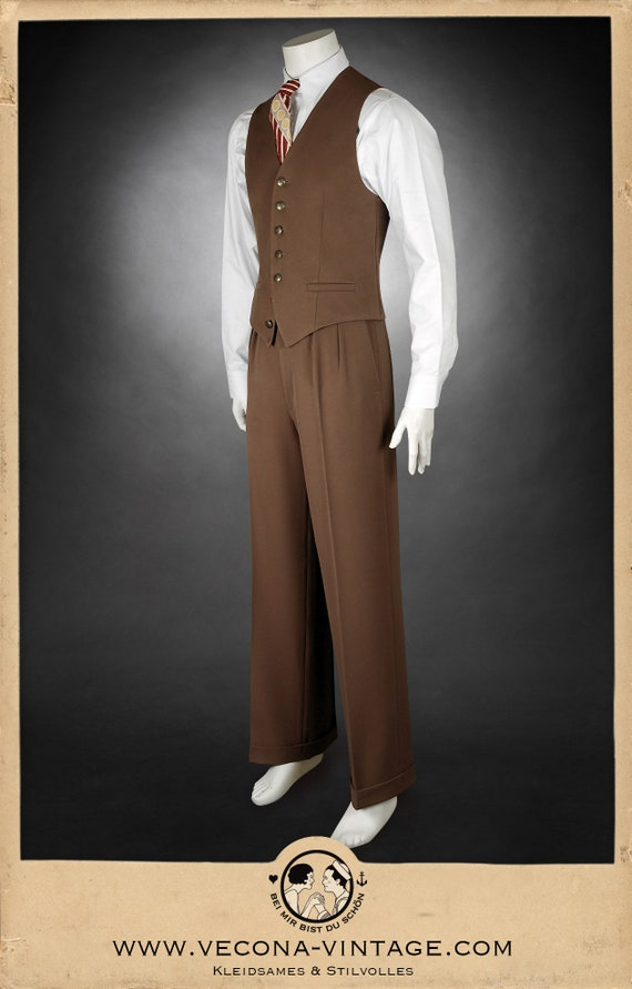 1940s UK and Europe Men's Clothing – WW2, Swing Dance, Goodwin 30s 40s gabardine TROUSERS swing lindy hop pants 1930 1940 £141.85 AT vintagedancer.com