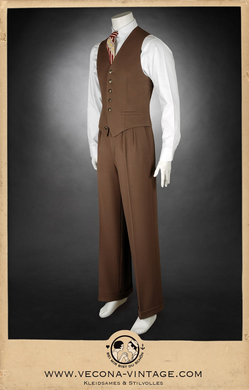 1940s UK and Europe Men's Clothing – WW2, Swing Dance, Goodwin 30s 40s gabardine TROUSERS swing lindy hop pants 1930 1940 $215.91 AT vintagedancer.com