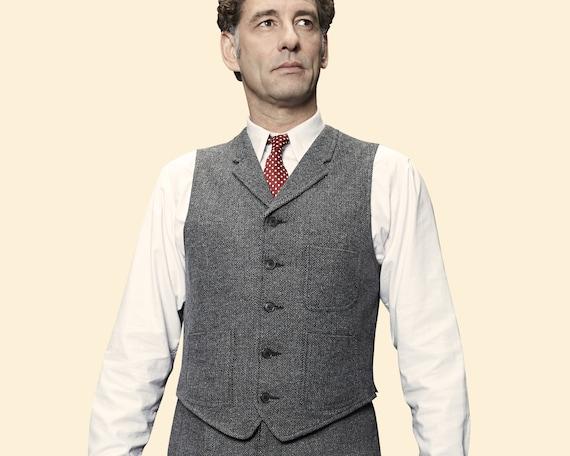 20er Jahre 30er Jahre Chevron Tweed WAISTCOAT Revers grau Wolle Mischung Schaukel Weste lindy Hop 1920 1930