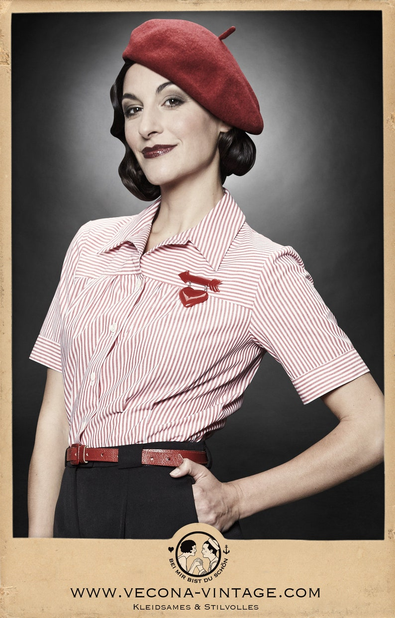 1930s Outfit Inspiration – Women's Clothing Ideas 30s 40s blouse GRETA red white striped cotton 1930 1940 $170.41 AT vintagedancer.com