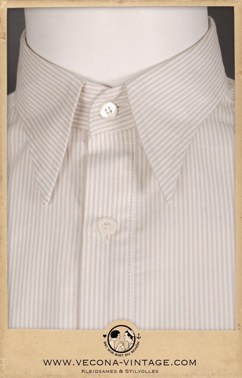 30s 40s striped shirt HAVANNA beige white cotton spearpoint collar 1930 1940