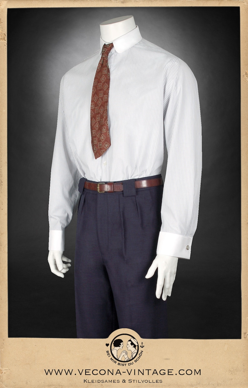 1920s Men's Fashion UK | Peaky Blinders Clothing 20s 30s striped shirt LONDON grey/white round collar and cuff links 1920 1930 $181.62 AT vintagedancer.com