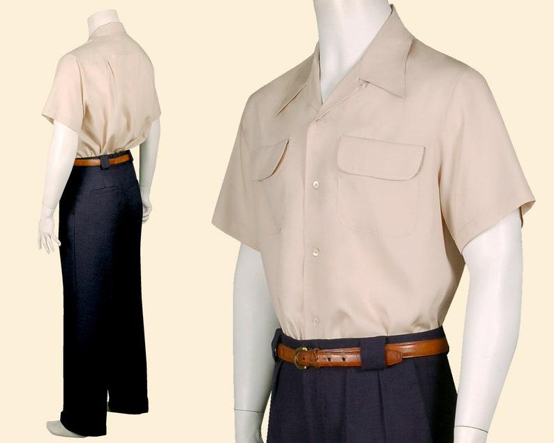 Mens Vintage Shirts – Casual, Dress, T-shirts, Polos 1940s Loop Collar Shirt short sleeve sand 100% Tencel $194.95 AT vintagedancer.com