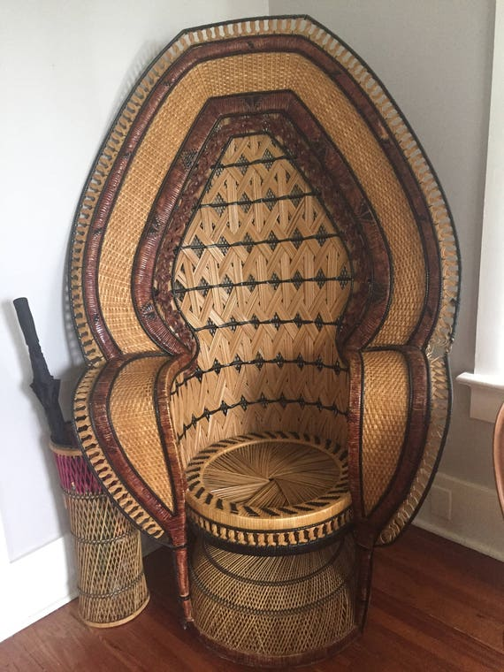 Vintage Peacock Chair// High Back Rattan Chair// Peacock Fan | Etsy
