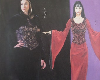 649122ae08 GOTHIC GOWN Pattern • McCalls 4549 • Miss 6-12 • Vampiress Dress   Cape • Goth  Costume • Sewing Patterns • Adult Costumes • WhiletheCatNaps