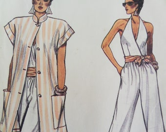 ded450fdcd15 HALTER JUMPSUIT Pattern • Vogue 9564 • Miss 14-18 • Loose Jacket • Straight  Leg Jumpsuit • Sewing Pattern • Womens Pattern • WhiletheCatNaps