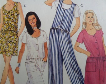 11029ca8f0f DROP WAIST JUMPSUIT Pattern • McCalls 7614 • Miss 10-14 • Button Romper •  90s Jumpsuit • Sewing Pattern • Womens Pattern • WhiletheCatNaps