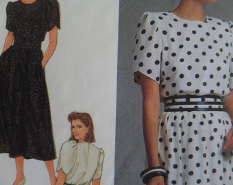 TULIP SLEEVE DRESS Pattern • Simplicity 9491 • Miss 8-18 • Pullover Belted Dress • Sewing Patterns • Womens Patterns • WhiletheCatNaps