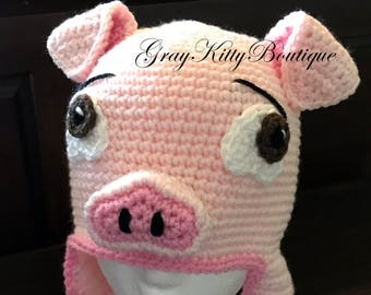 Crochet Pig Hat - Pig Hat - Piggy Hat - Crochet Pig Halloween Costume -  READY TO SHIP - Size 7-10 Years 6a0cd40ab78