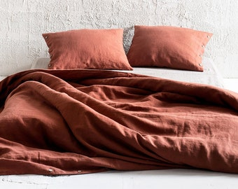 Burnt Orange linen duvet cover, Burnt orange linen bedding