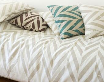 Handmade duvet cover ZiG ZaG, Printed linen bedding, Natural duvet covers