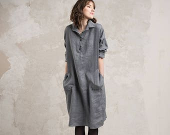 Womens dresses, Wool dress, Casual dress, Light grey dress, Purple dress, Womens clothing wool, Natural dress with pockets, Grey shirt dress