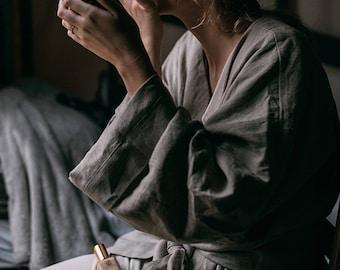 Long linen robe, Linen bath robe, Unisex bath robe, Linen dressing gown, Spa robe linen, Flax grey linen bath robe for men and women by LHI