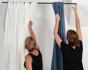 Linen window curtains, 1 tab top curtain panel, Custom blackout curtains, Linen window treatments, Tab top curtains