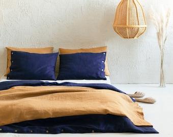 Navy linen duvet cover, Dark blue linen bedding