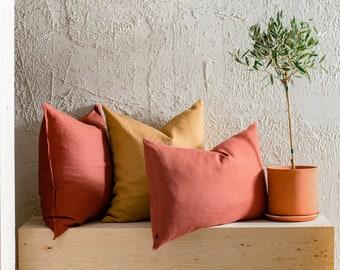 Linen throw pillow cover with zipper, Knife edge linen pillow covers