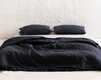 Black linen duvet cover, Black linen bedding