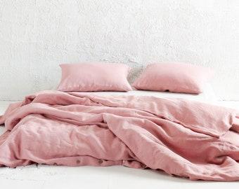 Dusty rose linen duvet cover, Muted light Pink linen bedding