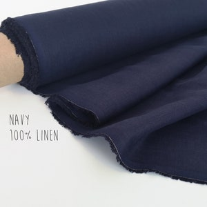 Indigo linen fabric Linen by the yard Natural linen fabric Fabric by the yard Navy linen fabric Dark blue fabric by meter