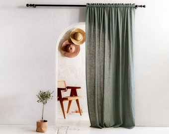 Handmade linen curtains with header, 1 panel, Tight rod pocket window curtains, Blackout curtain panels, Linen window treatments