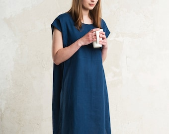 Everyday linen dress women 15 colors, Custom dress for women, Simple summer dress, Indigo linen dress, Natural linen women's clothing
