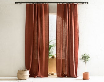 Natural linen curtains, Blackout curtains, 1 window curtain panel, Custom drapery panels with tape for rings, Handmade window treatments