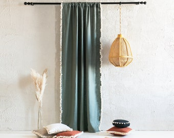 Linen window curtains with tassel fringe, Rod pocket curtains, 1 curtain panel, 30 colors, Unlined or Blackout curtain with tassels