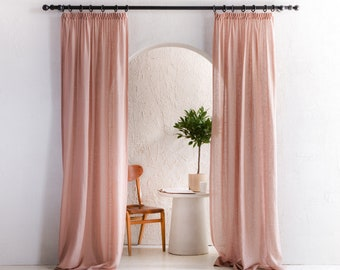 Handmade linen curtains with tape for rings, 8 colors, Sheer linen window curtains with Ruffle - Pleat heading