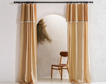 Sheer linen curtains, Drop cloth curtains with tape for rings, 1 curtain panel, 8 colors, Curtains with valance, Curtains with tassels