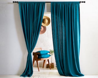 Linen curtain panel with rod pocket top, Teal linen window curtains, Blackout curtain panels, Natural linen window treatments
