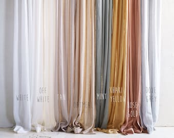 Linen window curtains, 8 colors, Sheer linen curtain panels with non-pleated tape for rings