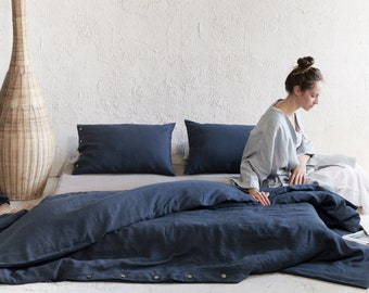 Charcoal linen duvet cover, Dark grey linen bedding, Handmade duvet covers with coconut buttons