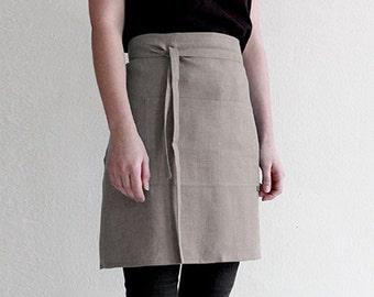 Simple linen apron, Linen waist apron, Linen kitchen apron, Natural apron, Linen half apron, Linen apron for cook, Linen apron women