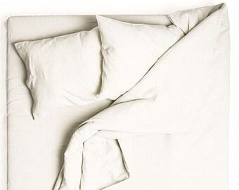 Off white bedding, Linen duvet, off white linen bedding. Duvet cover queen, king duvet cover, twin duvet cover, double or full duvet cover