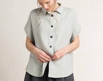 Linen women's shirt, Loose fit shirt for woman, Short sleeve shirt, Dove grey shirt women, Linen top, Linen women's clothing by LHI