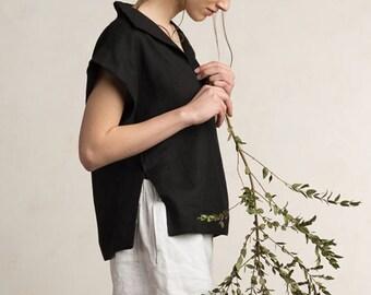 Black women's blouse, Linen tee shirt women, Black tee-shirt, Black linen top for women, Linen women's clothing, Black top women