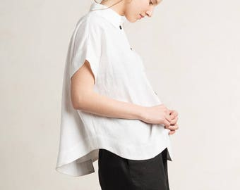 White linen shirt for woman, White shirt with black buttons, White women's shirt, Short sleeve shirt, White linen top, White womens clothing