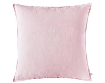 Pink decorative pillow cover, Pink linen pillow, Pink accent pillow, Pink cushion cover, Pink linen throw pillow, Pink sofa cushions