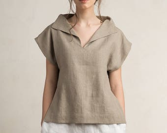 Linen blouse women, Linen women's clothing, Short sleeve linen shirt women, Linen womens tops, Flax grey linen clothes, Linen clothing women