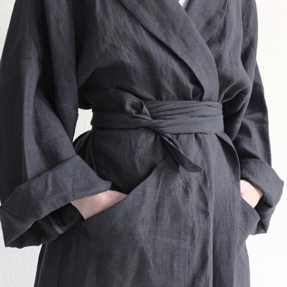 3eaaa313c0 Long linen robe Charcoal bath robe Unisex bath robe Linen