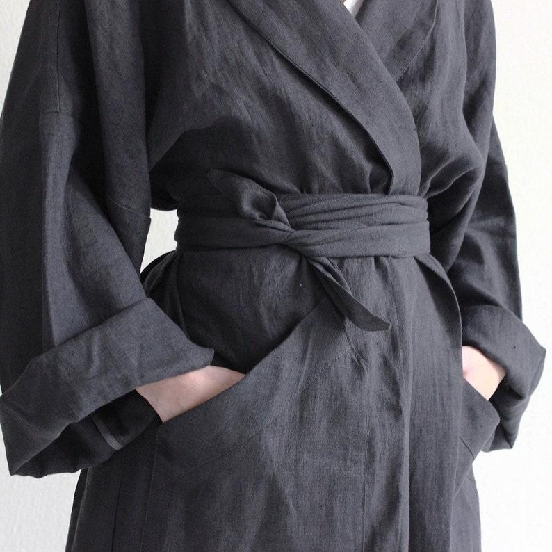 Long linen robe Charcoal bath robe Unisex bath robe Linen  8de5e3c6f