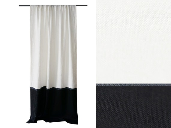 Linen Curtains Color Block Curtains Black And White Curtains Etsy