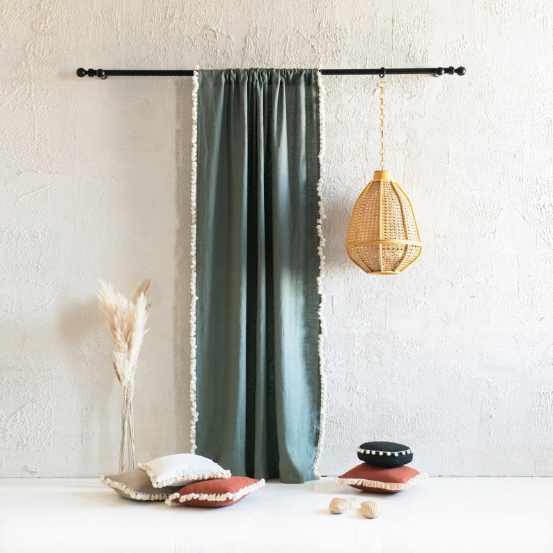 Linen window curtains with tassel fringe Rod pocket curtains image 0
