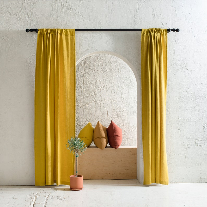 Handmade linen curtains Rod pocket curtains Blackout image 0