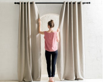 Blackout linen curtains with grommets, 30 colors, 1 panel, Grommet curtain panels, Linen window curtains, Privacy linen eyelet curtains