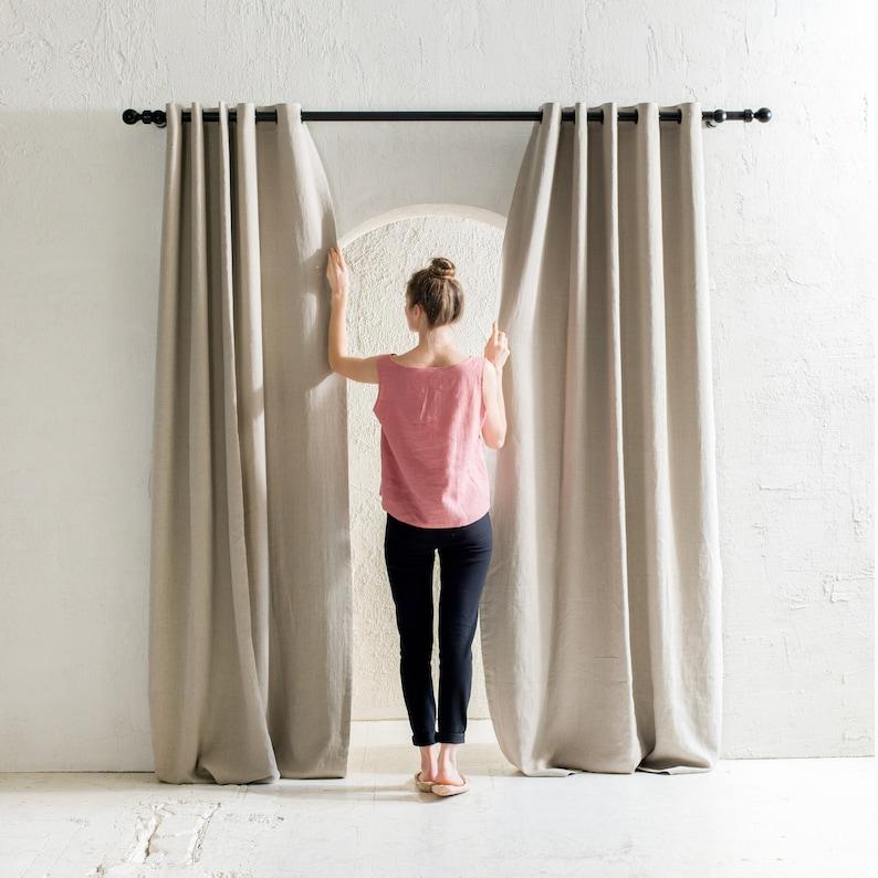 Blackout linen curtains with grommets 23 colors Grommet image 0