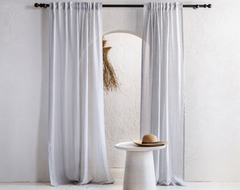 Linen back tab curtains, Sheer linen window curtains with back tabs tape top, 8 colors, Handmade lightweight window treatments
