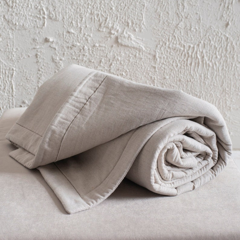 Natural linen blanket or bedspread King Queen Double Twin or image 0